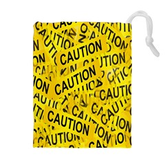 Caution Road Sign Cross Yellow Drawstring Pouches (Extra Large)