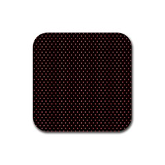 Colored Circle Red Black Rubber Square Coaster (4 pack)