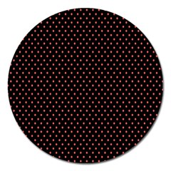 Colored Circle Red Black Magnet 5  (Round)