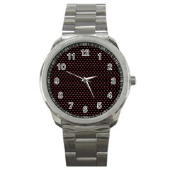 Colored Circle Red Black Sport Metal Watch