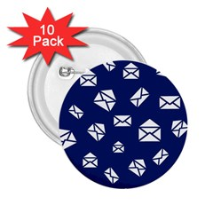 Envelope Letter Sand Blue White Masage 2.25  Buttons (10 pack)