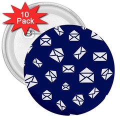 Envelope Letter Sand Blue White Masage 3  Buttons (10 pack)