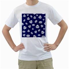 Envelope Letter Sand Blue White Masage Men s T-Shirt (White) (Two Sided)
