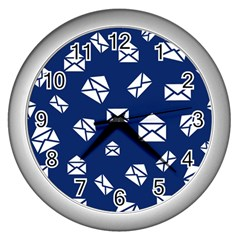 Envelope Letter Sand Blue White Masage Wall Clocks (silver)