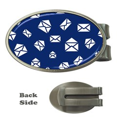 Envelope Letter Sand Blue White Masage Money Clips (Oval)