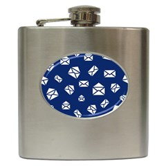 Envelope Letter Sand Blue White Masage Hip Flask (6 oz)