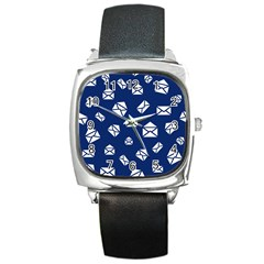 Envelope Letter Sand Blue White Masage Square Metal Watch