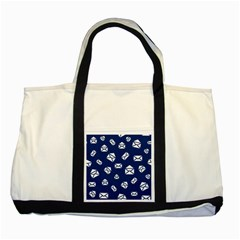 Envelope Letter Sand Blue White Masage Two Tone Tote Bag