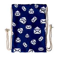 Envelope Letter Sand Blue White Masage Drawstring Bag (Large)