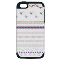Bird Fly Butterfly Flower Floral Rose Blue Red Pink Apple iPhone 5 Hardshell Case (PC+Silicone)