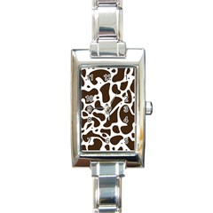 Dalmantion Skin Cow Brown White Rectangle Italian Charm Watch