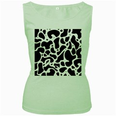 Dalmantion Skin Cow Brown White Women s Green Tank Top