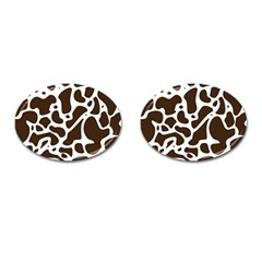 Dalmantion Skin Cow Brown White Cufflinks (oval)