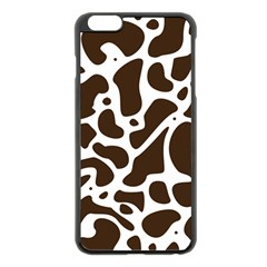 Dalmantion Skin Cow Brown White Apple iPhone 6 Plus/6S Plus Black Enamel Case