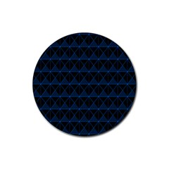 Colored Line Light Triangle Plaid Blue Black Rubber Round Coaster (4 pack)