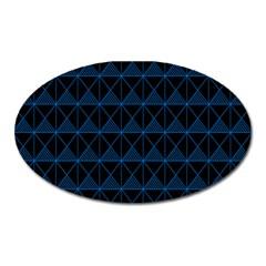 Colored Line Light Triangle Plaid Blue Black Oval Magnet