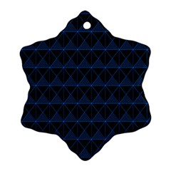 Colored Line Light Triangle Plaid Blue Black Snowflake Ornament (Two Sides)