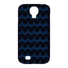 Colored Line Light Triangle Plaid Blue Black Samsung Galaxy S4 Classic Hardshell Case (PC+Silicone)