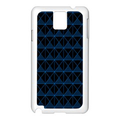 Colored Line Light Triangle Plaid Blue Black Samsung Galaxy Note 3 N9005 Case (White)