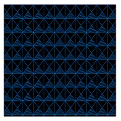 Colored Line Light Triangle Plaid Blue Black Large Satin Scarf (Square)