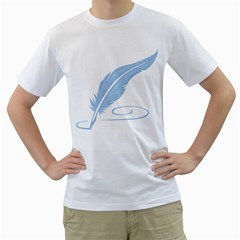 Feather Pen Blue Light Men s T Shirt (white) (two Sided)