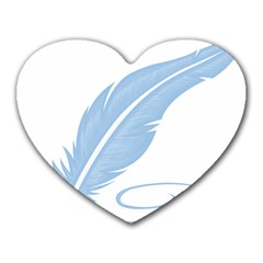 Feather Pen Blue Light Heart Mousepads