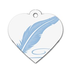 Feather Pen Blue Light Dog Tag Heart (One Side)