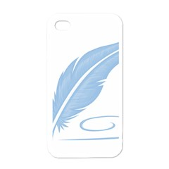 Feather Pen Blue Light Apple iPhone 4 Case (White)