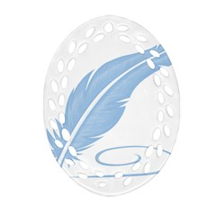 Feather Pen Blue Light Oval Filigree Ornament (Two Sides)