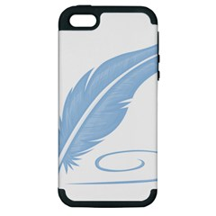 Feather Pen Blue Light Apple iPhone 5 Hardshell Case (PC+Silicone)