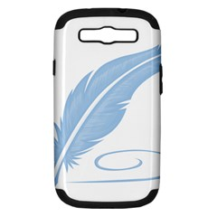 Feather Pen Blue Light Samsung Galaxy S III Hardshell Case (PC+Silicone)
