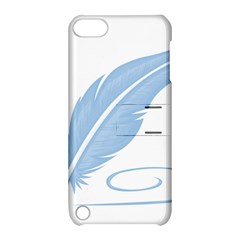 Feather Pen Blue Light Apple iPod Touch 5 Hardshell Case with Stand