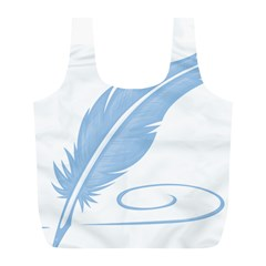 Feather Pen Blue Light Full Print Recycle Bags (L)