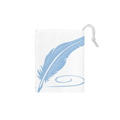 Feather Pen Blue Light Drawstring Pouches (XS)