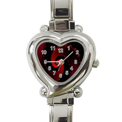 Red Fractal Spiral Heart Italian Charm Watch