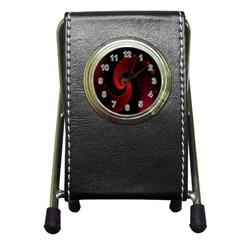 Red Fractal Spiral Pen Holder Desk Clocks