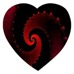 Red Fractal Spiral Jigsaw Puzzle (heart)