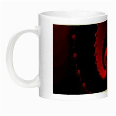 Red Fractal Spiral Night Luminous Mugs