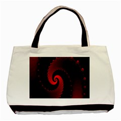 Red Fractal Spiral Basic Tote Bag