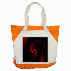 Red Fractal Spiral Accent Tote Bag