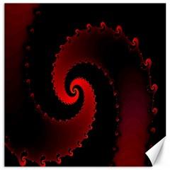 Red Fractal Spiral Canvas 20  X 20