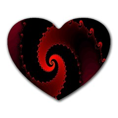 Red Fractal Spiral Heart Mousepads