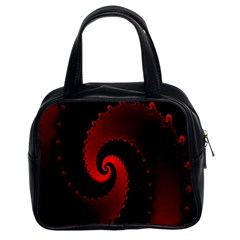 Red Fractal Spiral Classic Handbags (2 Sides)