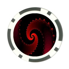 Red Fractal Spiral Poker Chip Card Guard (10 pack)