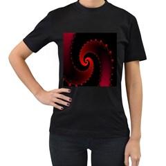 Red Fractal Spiral Women s T-Shirt (Black)