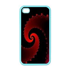 Red Fractal Spiral Apple iPhone 4 Case (Color)