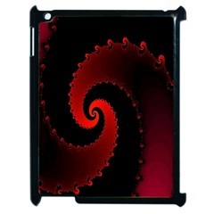Red Fractal Spiral Apple iPad 2 Case (Black)
