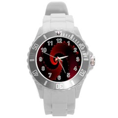 Red Fractal Spiral Round Plastic Sport Watch (l)