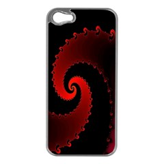 Red Fractal Spiral Apple iPhone 5 Case (Silver)