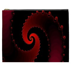 Red Fractal Spiral Cosmetic Bag (XXXL)